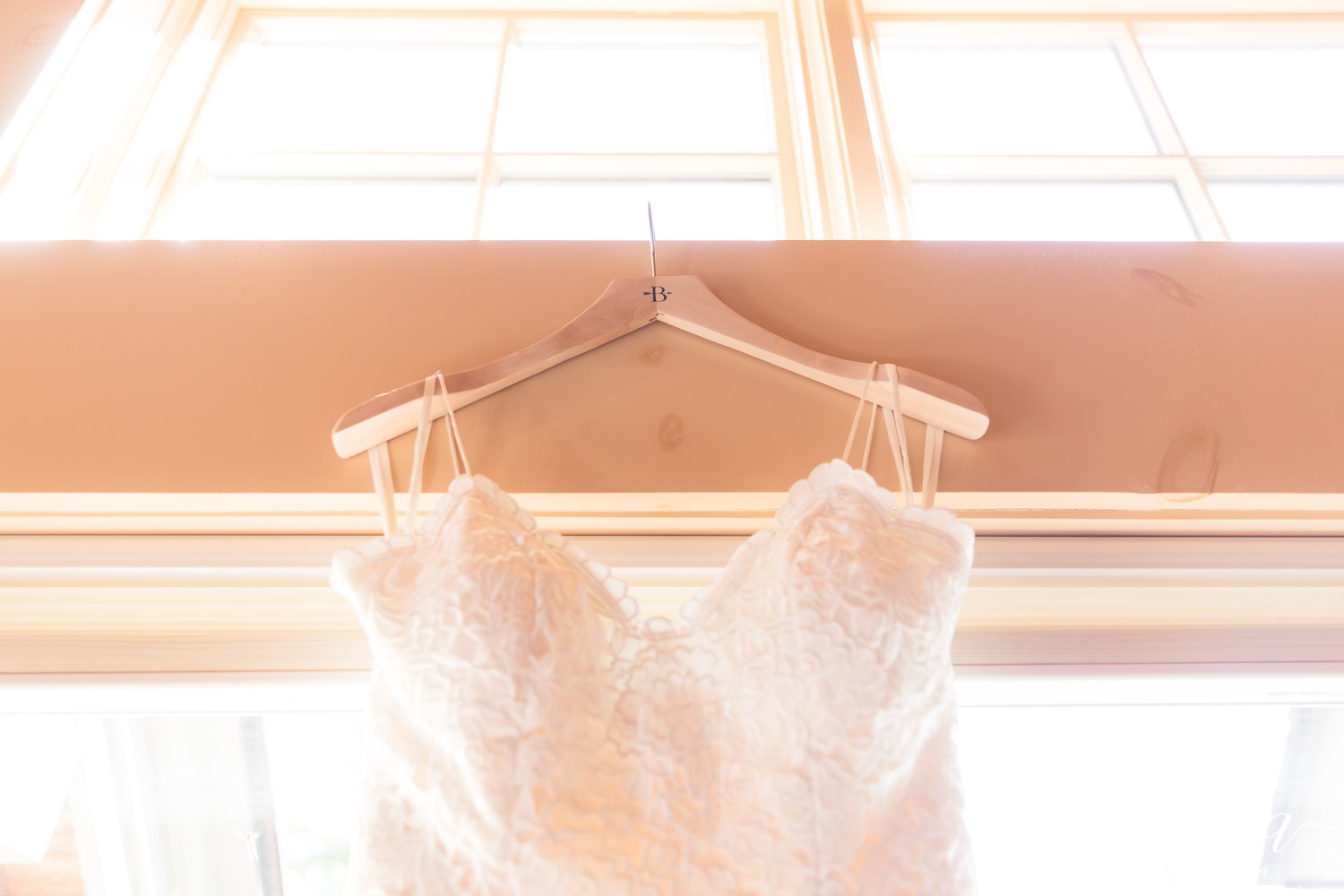Wedding dress hanger Smirnova Photography by Alyssa
