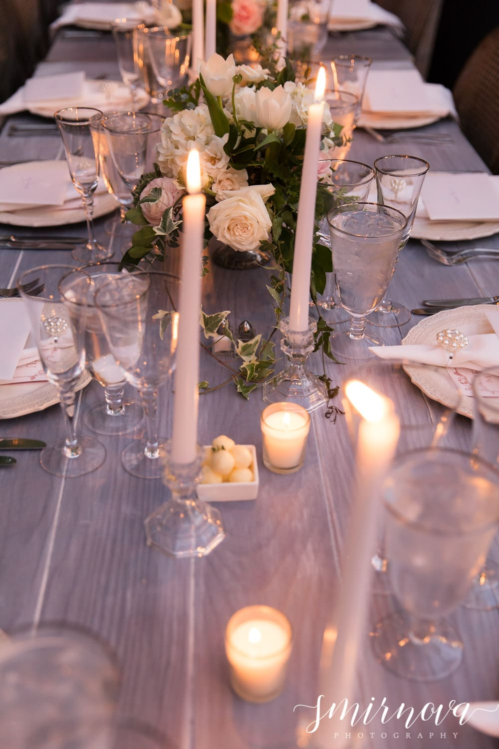 blush candlelit wedding reception decorations Smirnova Photography by Alyssa