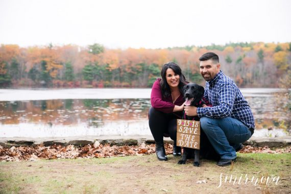 fall color trees lake engagement