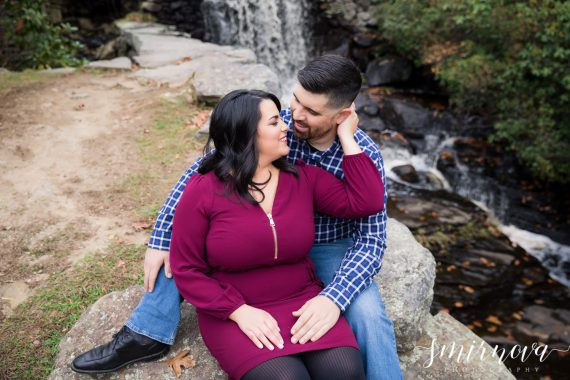 moore state park waterfall engagement Smirnova Photography by Alyssa