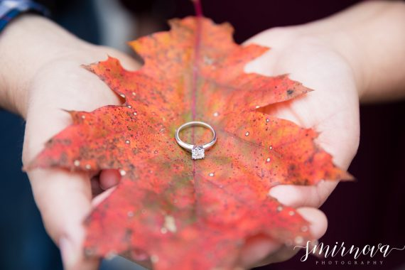 fall foliage leaves engagement ring Smirnova Photography by Alyssa
