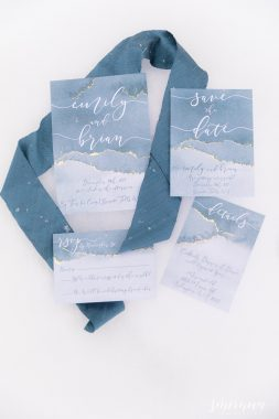 dusty blue wedding stationary suite