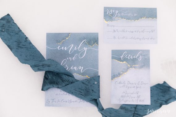 blue winter wedding stationary