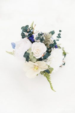 dusty blue wedding paper flower bouquet