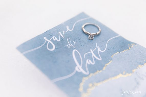 dusty blue save the date stationary