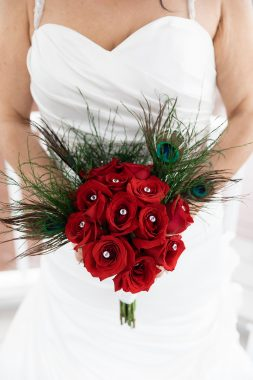 Handmade peacock and red rose bridal bouquet Smirnova Photography by Alyssa