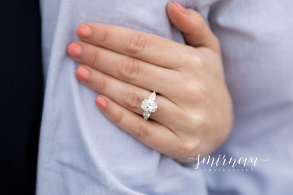 Oval and trillion engagement ring Smirnova Photography