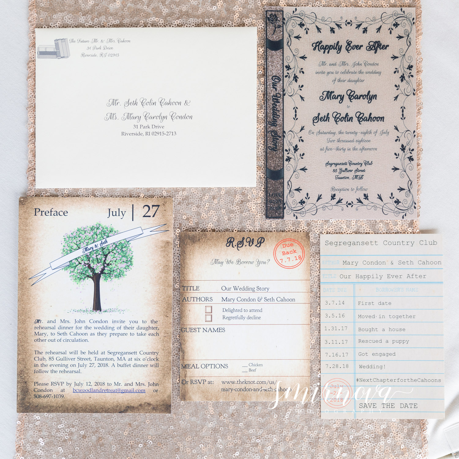Book Themed Wedding at Segregansett Country Club | SMIRNOVA PHOTOGRAPHY