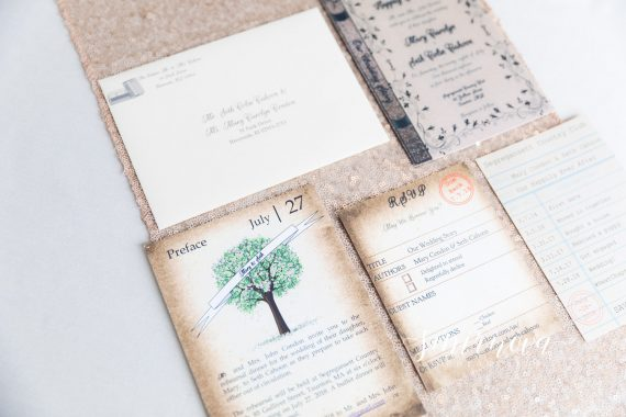 book themed wedding stationary