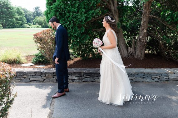 first look Segregansett Country Club Wedding Smirnova Photography